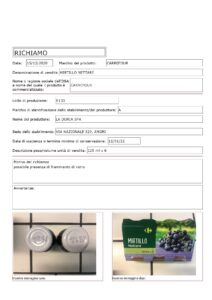 Allerta Alimentare | Carrefour, Vetro nel Nettare al Mirtillo 1