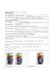 Allerta Alimentare   Vetro nei Filetti di Acciughe 1