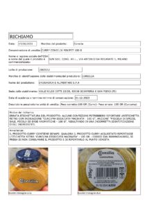 Allerta Alimentare | Etichetta errata per il Curry 1